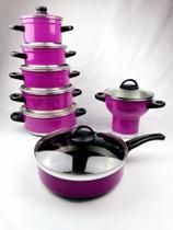 Kit Sophia 7 Peças - Com Frigideira Antiaderente e Cuscuzeira - Rosa Pink - Lu Quintães