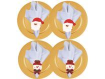 Kit Sousplat Dourado Liso, Guardanapo Tecido e Anel Papai Noel e Boneco de Neve Natal 12 Peças - Magizi