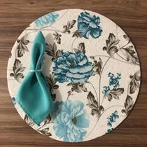 Kit Sousplat  Jogo Americano 4 Lugares Completo com Presilhas - Estampa Floral Azul - Marialle Enxovais