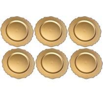 Kit Sousplat Wave Dourado 33 cm 6 unidades Class Home -