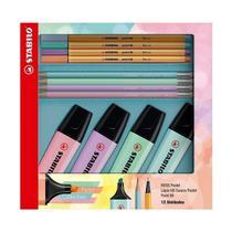 Kit Stabilo Boss Pastel+Point 88 Pastel+ Lapis Swano 12 Un. 55.3402 29044 -