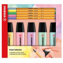 Kit Stabilo Marca Texto Boss Pastel e Canetas Point 88 Pastel -