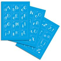 Kit Stencil Mini Litoarte com 38 peças STMI2-001 Alfabeto Lettering -