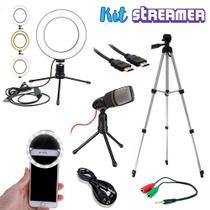 Kit  Streamer Youtuber 6 Tripe Iluminador Ring Light Microfone condensador - UKIMIX