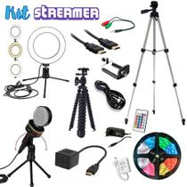 Kit  Streamer Youtuber 7 Ring light Fita Led Microfone condensador Tripe Reforçado - Ukimix