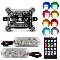 Kit Strobo Farol RGB Rítmico AJK Universal 1 Central 2 Faróis 9W 3 LEDs 143 Efeitos 8 Cores Controle - Ajk Eletronics