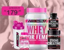 Kit strong femme - whey choco + colágeno + bcaa + creatina - Fisionutri