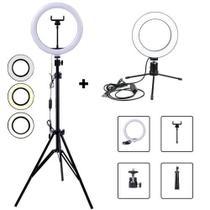 Kit Studio Anel Luz Ring Light 26cm Regulável 3 tons USB + Tripé até 2,0m / 1 Ring Light 16cm com Tripe - Centrão
