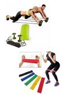 Kit super elasticos com roda para exercicios em casa na academia ao ar livre fitness - Slu Fitness