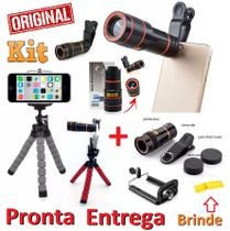 Kit Super Luneta Lente Zoom Hd Profissional Telescópio Celular Universal + Mini Tripé Flexível Youtuber + Flanela Brinde - Leffa Shop