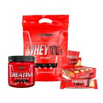 Kit Super Whey 100% (907g) + Creatina (300g) + Protein Crisp Bar (caixa) - Integralmédica -