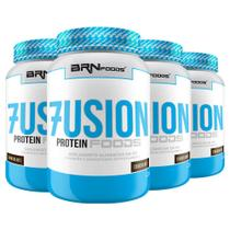 Kit Super Whey Protein: 4x Fusion Protein Foods 900g Chocolate  BRNFOODS -