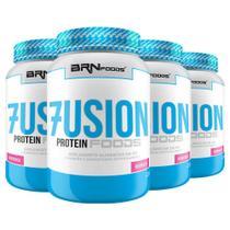 Kit Super Whey Protein: 4x Fusion Protein Foods 900g Morango  BRNFOODS - BRN Foods
