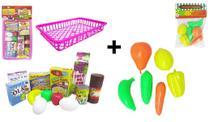 Kit supermercado diversos itens + cestinha plástica + legumes e frutas - Pica-pau