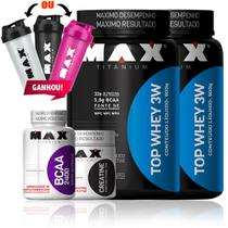 Kit Suplemento Completo Fit Man - Top Whey 3w - Max Titanium