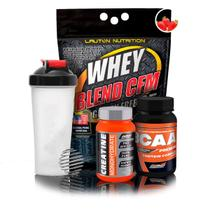 Kit Suplementos Ganho de Massa - Whey Blend + Creatina Advanced + Bcaa Premium + Coqueteleira - New millen
