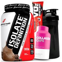Kit Suplementos - Whey Isolado 900g Sem Lactose + Colageno Collagen Atlhetica 120Caps + Shaker - Body action
