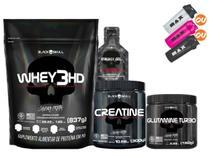 Kit Suplementos - Whey Protein + Creatina + Glutamina + Coqueteleira + Brindes - Black Skull -