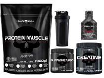 Kit Suplementos Whey Protein Muscle + Creatina + Glutamina + Brindes - Black Skull
