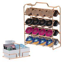 Kit suporte 32 Cápsulas Dolce Gusto + Porta Sachês - 1145RG Rosé Gold Future -