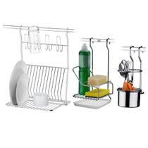 Kit Suporte Detergente Escorredor e Esponja Para barra Cozinha - Future