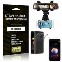 Kit Suporte Retrovisor LG K11 Plus Suporte + Capa + Película de Vidro - Armyshield -