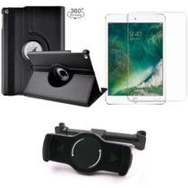 Kit Suporte Tablet Carro iPad 2019 7a Geração 10.2 + Película Vidro +Capa Giratória - Armyshield -