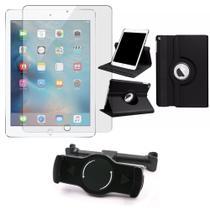 Kit Suporte Tablet Carro iPad New (6a geração) + Película Vidro +Capa Giratória - Armyshield -