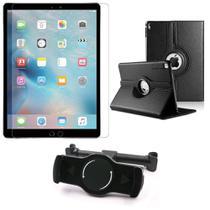 Kit Suporte Tablet Carro iPad Pro 9.7' + Película Vidro +Capa Giratória - Armyshield -