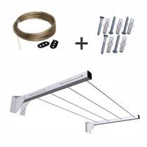 Kit Suporte Varal Dobrável Branco + Varal aço + kit instalação - Novo.Escadas