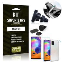 Kit Suporte Veicular Magnético Galaxy A31 Capinha Anti Impacto +Película Vidro - Armyshield -