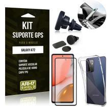 Kit Suporte Veicular Magnético Galaxy A72 + Capa Anti Impacto +Película Vidro 3D - Armyshield -