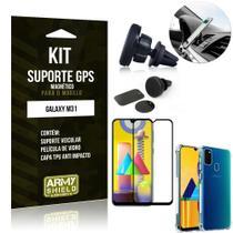Kit Suporte Veicular Magnético Galaxy M31 + Capa Anti Impacto +Película Vidro 3D - Armyshield -