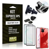 Kit Suporte Veicular Magnético Galaxy Note 10 Lite +Capa Anti Impacto +Película Vidro 3D -Armyshield -
