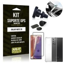 Kit Suporte Veicular Magnético Galaxy Note 20 + Capa Anti Impacto +Película Vidro 3D - Armyshield -