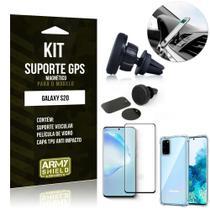 Kit Suporte Veicular Magnético Galaxy S20 Capinha Anti Impacto +Película Vidro 3D - Armyshield -
