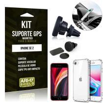 Kit Suporte Veicular Magnético iPhone SE 2020 Suporte +Capinha Anti Impacto +Película Vidro - Armyshield -