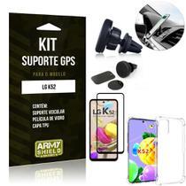 Kit Suporte Veicular Magnético LG K52 + Capa Anti Impacto +Película Vidro 3D - Armyshield -