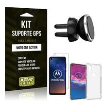 Kit Suporte Veicular Magnético Moto One Action Suporte + Capinha Anti Impacto + Película de Vidro - Armyshield -