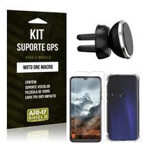 Kit Suporte Veicular Magnético Moto One Macro Suporte + Capinha Anti Impacto + Película de Vidro - Armyshield -