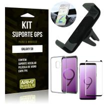 Kit Suporte Veicular Samsung Galaxy S9 Suporte + Capa + Película de Vidro - Armyshield -