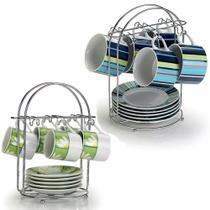 Kit Suportes de Mesa Modelo para até 6 Xícaras de Chá e Porta 6 Xícaras de Café Aço Cromado Arthi -