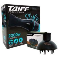Kit taiff secador profissional style 2000w preto - 127v + difusor curves -