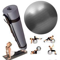 Kit Tapete Bola Fisioterapia Fitness Yoga Pilates Cinza - Western