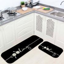 Kit Tapete de Cozinha Cooking Black - Love Decor