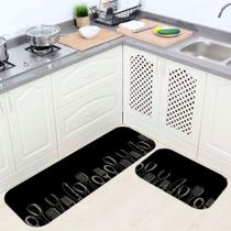 Kit Tapete de Cozinha Cutlery Black and White - Love Decor