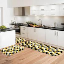 Kit Tapete de Cozinha Multi Triângulos Amarelos - Love Decor