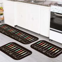 Kit Tapete de Cozinha Talheres coloridos - Love Decor