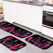 Kit Tapete de Cozinha Talheres Rosa - Love Decor