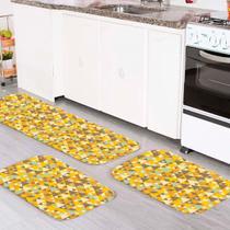 Kit Tapete de Cozinha Triângulos Amarelos - Love Decor